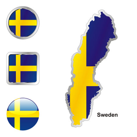fully: fully editable flag of sweden in map and web buttons shapes