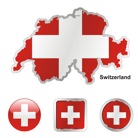 switzerland: fully editable flag of switzerland in map and web buttons shapes