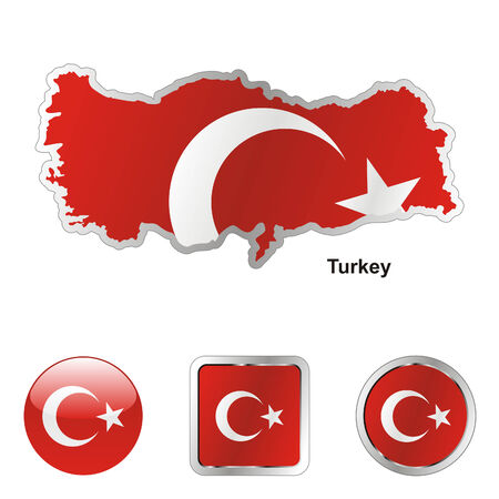 international flags: fully editable flag of turkey in map and web buttons shapes