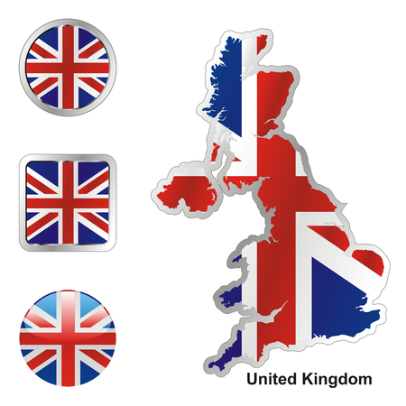 fully: fully editable flag of great britain in map and web buttons shapes
