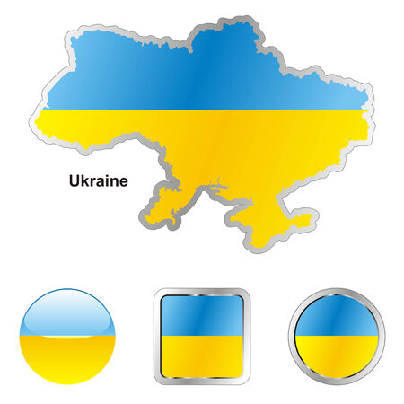fully editable flag of ukraine in map and web buttons shapes  Illustration