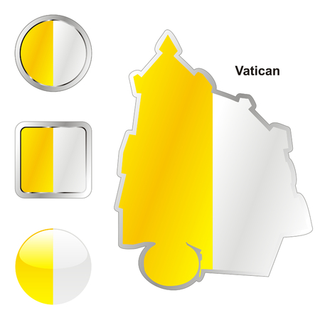 fully editable flag of vatican in map and web buttons shapes  Stock Vector - 6255812