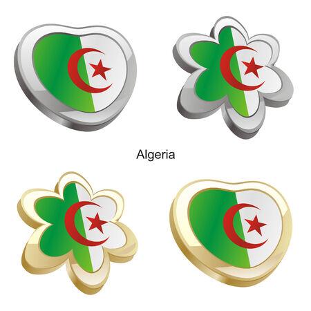 Algeria: fully editable vector illustration of algeria flag in heart and flower shape  Illustration