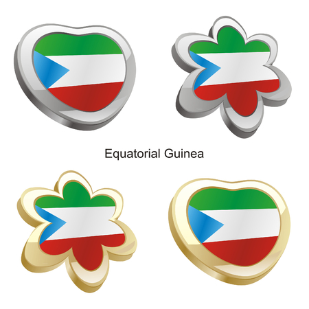 fully editable vector illustration of equatorial guinea flag in heart and flower shape  Vector