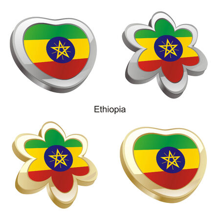 fully editable vector illustration of ethiopia flag in heart and flower shape  Vector