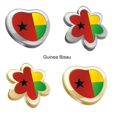 guinea bissau: fully editable vector illustration of guinea bissau flag in heart and flower shape