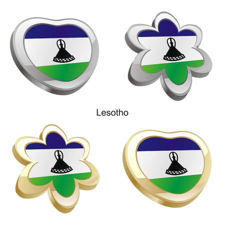 lesotho: fully editable vector illustration of lesotho flag in heart and flower shape  Illustration