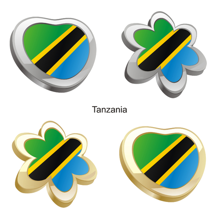 vector illustration of tanzania flag in heart and flower shape  Vector