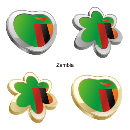 zambia flag: vector illustration of zambia flag in heart and flower shape