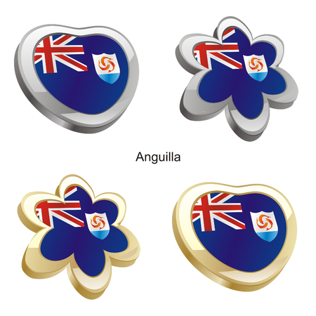 anguilla: vector illustration of anguilla flag in heart and flower shape  Illustration