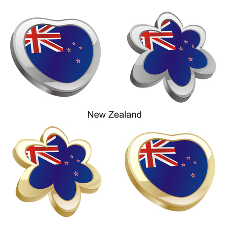 vector illustration of new zealand flag in heart and flower shape Vector