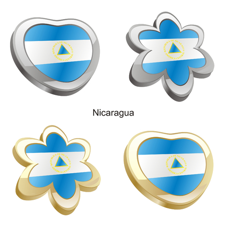 vector illustration of nicaragua flag in heart and flower shape  Vector