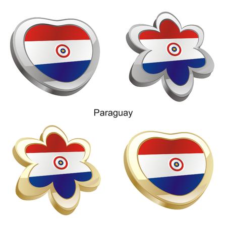 bandera de paraguay: ilustraci�n vectorial de bandera de paraguay en forma de coraz�n y flor