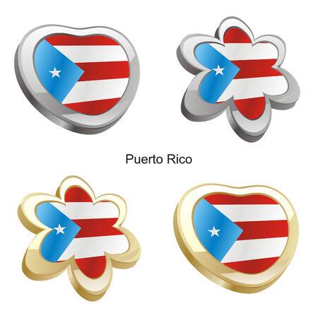 ilustración vectorial de la bandera de puerto rico en forma de corazón y flor  Foto de archivo - 6384681