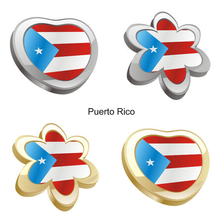 ilustraci�n vectorial de la bandera de puerto rico en forma de coraz�n y flor  Foto de archivo - 6384681