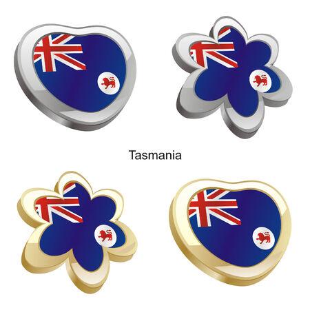 tasmania: vector illustration of tasmania flag in heart and flower shape