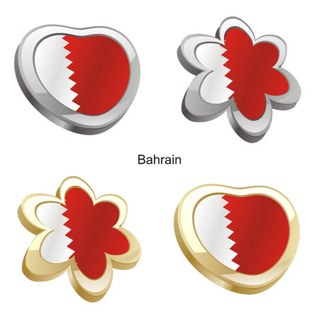 vector illustration of bahrain flag in heart and flower shape  Vector