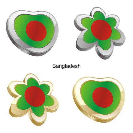 vector illustration of bangladesh flag in heart and flower shape