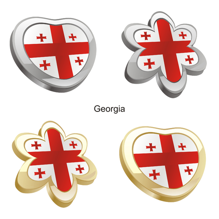 vector illustration of georgia flag in heart and flower shape  Vector