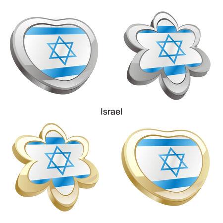 vector illustration of israel flag in heart and flower shape Stock Vector - 6384685