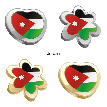 jordanian: vectorillustratie van Jordanië vlag in hart en bloem vorm