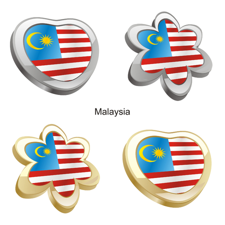 vector illustration of malaysia flag in heart and flower shape Vector