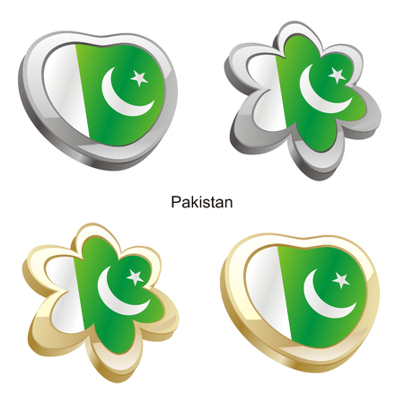 pakistan flag: vector illustration of pakistan flag in heart and flower shape