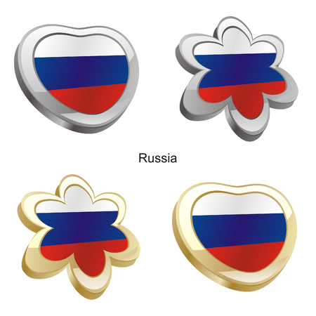 vector illustration of russia flag in heart and flower shape  Vector