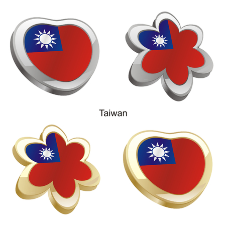 vector illustration of taiwan flag in heart and flower shape  Vector