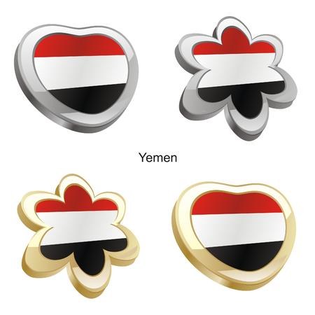 vector illustration of yemen flag in heart and flower shape  Vector