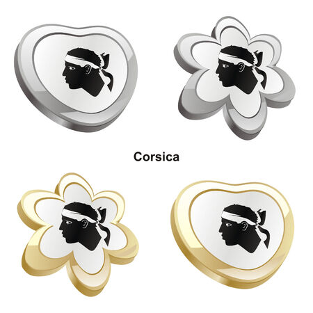 vector illustration of corsica flag in heart and flower shape  Vector
