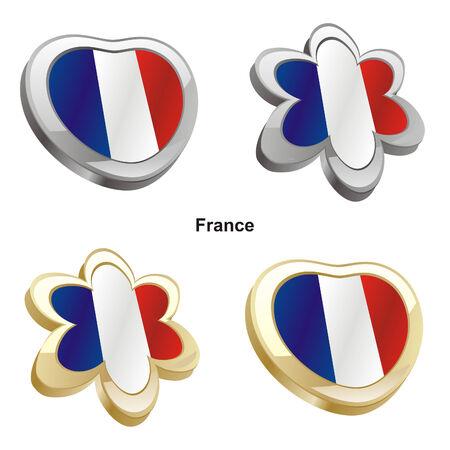 vector illustration of france flag in heart and flower shape  Vector