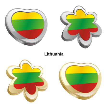 lithuania flag: vector illustration of lithuania flag in heart and flower shape