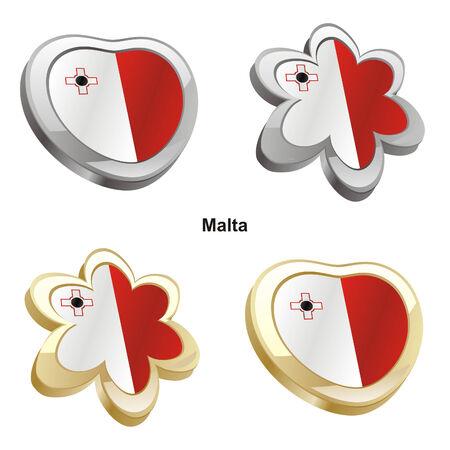 vector illustration of malta flag in heart and flower shape  Vector