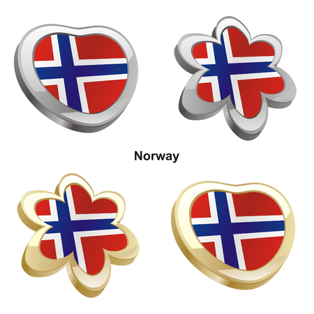 vector illustration of norway flag in heart and flower shape  Stock Vector - 6384637