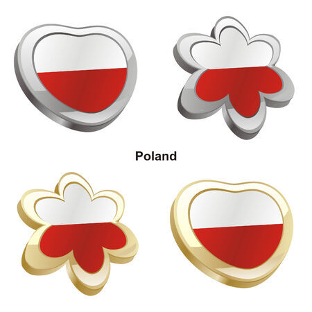 vector illustration of poland flag in heart and flower shape  Vector