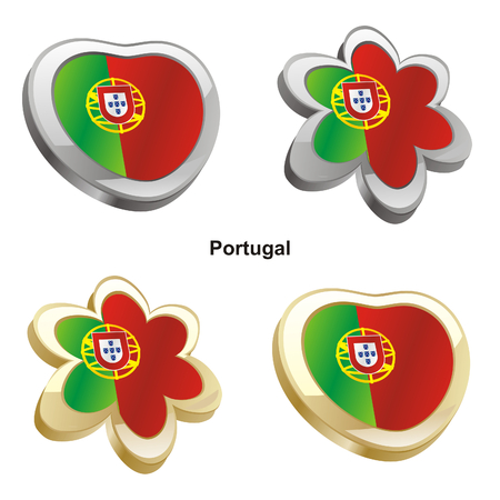 vector illustration of portugal flag in heart and flower shape  Vector