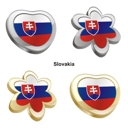 vector illustration of slovakia flag in heart and flower shape  Vector