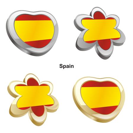 vector illustration of spain flag in heart and flower shape  Vector