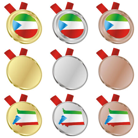 fully editable equatorial guinea flag in medal shapes  Vector