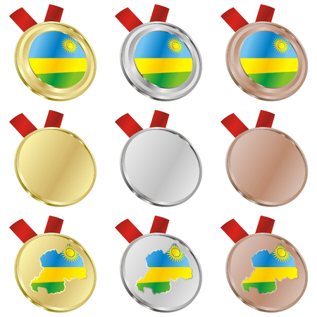 fully editable rwanda vector flag in medal shapes  Vector