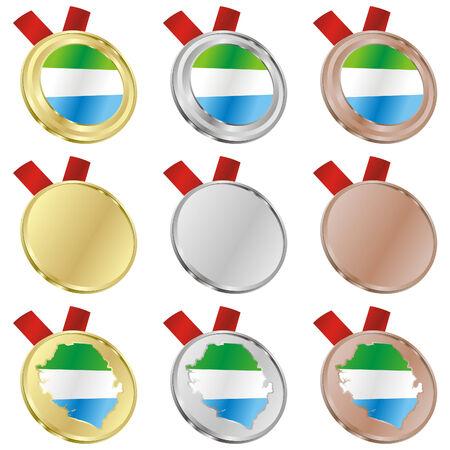fully editable sierra leone vector flag in medal shapes  Stock Vector - 6486758