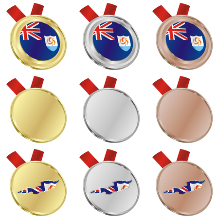 anguilla: fully editable anguilla vector flag in medal shapes