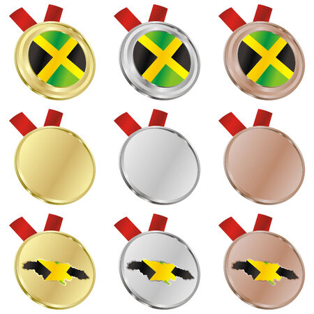 fully editable jamaica flag in medal shapes Stock Vector - 6486687