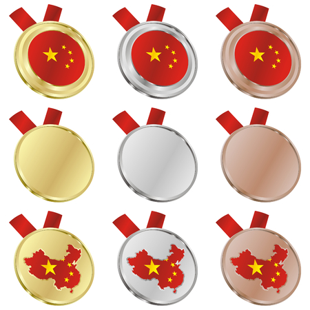 fully editable china vector flag in medal shapes  Vector