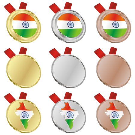 fully editable india vector flag in medal shapes  Vector
