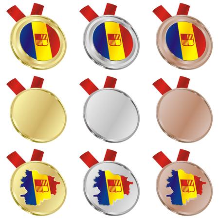 andorra: fully editable andorra vector flag in medal shapes  Illustration