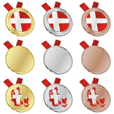 fully editable denmark vector flag in medal shapes  Vector