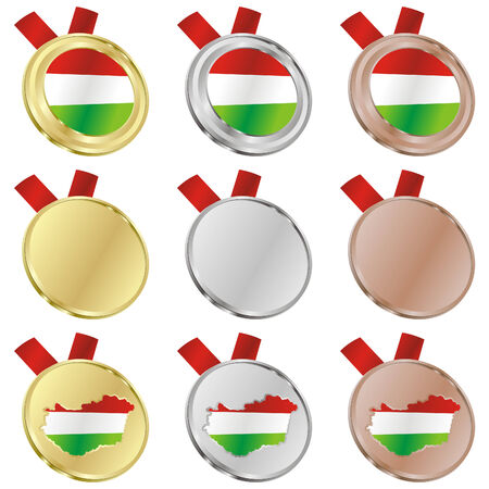 fully editable hungary vector flag in medal shapes  Vector