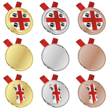 fully editable sardinia vector flag in medal shapes  Vector
